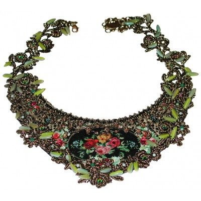 Michal Negrin Victorian Roses Lace Necklace