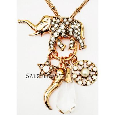 Amaro Elephant Star Crystal Pendants Necklace