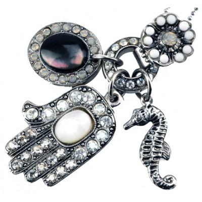 Amaro Hamsa Seahorse Silver Plated Necklace