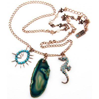 Amaro Turquoise Seahorse Agate Crystals Necklace