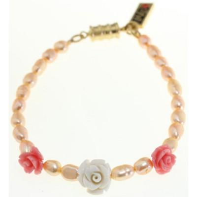 Amaro Vintage Roses Pearls Bracelet