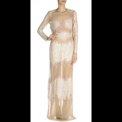 Blumarine Sheer White Sequins Maxi Dress