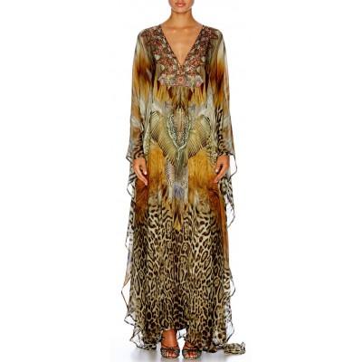 Camilla Franks El Salvaje Waist Tab Silk Kaftan Dress