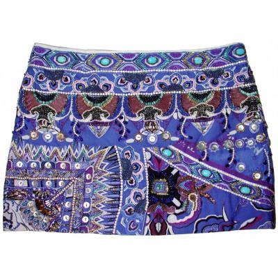 Camilla Franks Blue Purple Embellished Mini Skirt