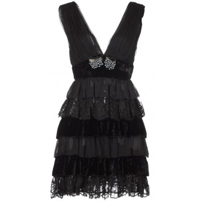 D&G Dolce & Gabbana Black Ruffles Dress