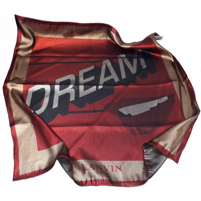 Lanvin Metallic DREAM Graphic Print Silk Square Scarf