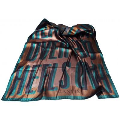Lanvin Metallic HEAD OVER HEELS Graphic Print Silk Square Scarf