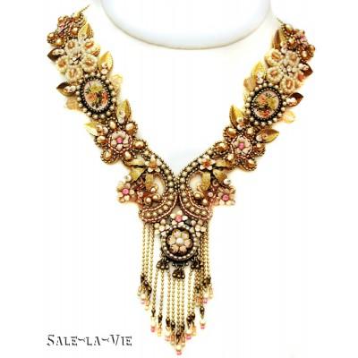 Michal Negrin Antique Pearl Peach Lace Necklace