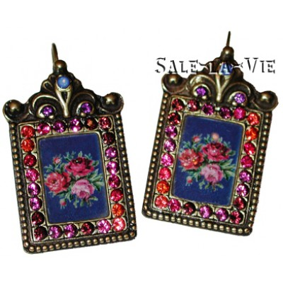 Michal Negrin Antique Roses Cameo Crystal Earrings