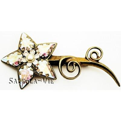 Michal Negrin Aurora Borealis Pearl Flower Brooch