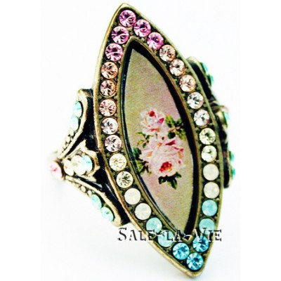 Michal Negrin Biconvex Pastel Roses Ring