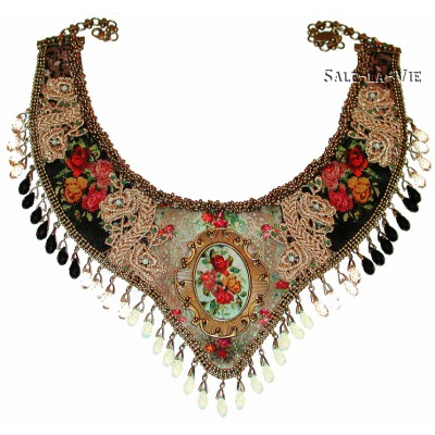 Michal Negrin Painted Roses Antique Necklace