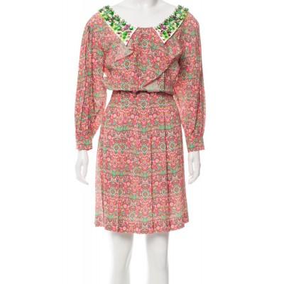 Miu Miu Printed Embellished Collar Dress