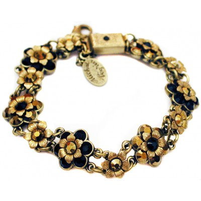Michal Negrin Black Mirror Bronze Gold Tone Bracelet