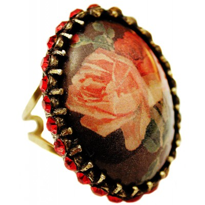 Michal Negrin Red Roses Crystal Cabochon Cameo Ring