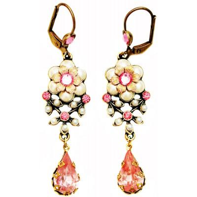 Michal Negrin Pearl Pink Teardrop Earrings