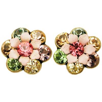 Michal Negrin Pastel Crystal Flower Stud Earrings