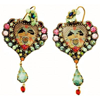 Michal Negrin Multicolor Dolls Kiss Heart Earrings