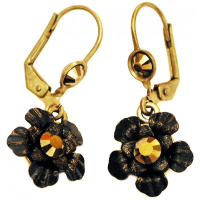Michal Negrin Black Bronze Painted Flower Earrings