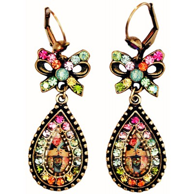 Michal Negrin Multicolor Dolls Kiss Cameo Bow Earrings
