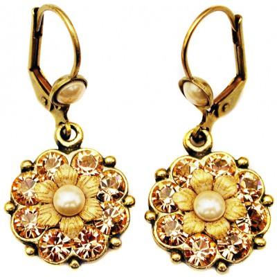 Michal Negrin Peach Pearl Crystals Flower Earrings