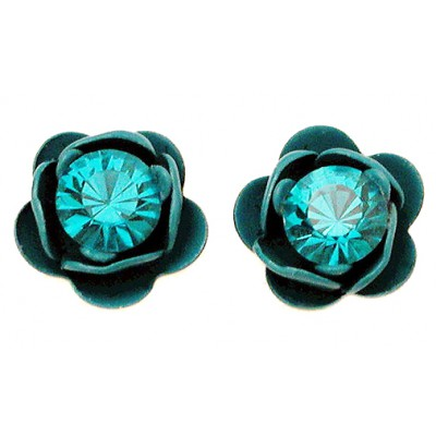 Michal Negrin Turquoise Rose Stud Earrings