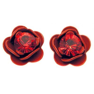 Michal Negrin Red Rose Stud Earrings