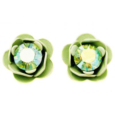 Michal Negrin Light Green Rose Stud Earrings