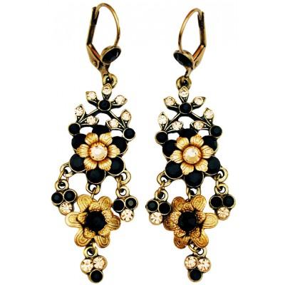 Michal Negrin Black Gold Chandelier Earrings