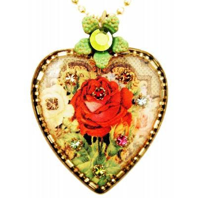 Michal Negrin Antique Rose Heart Necklace