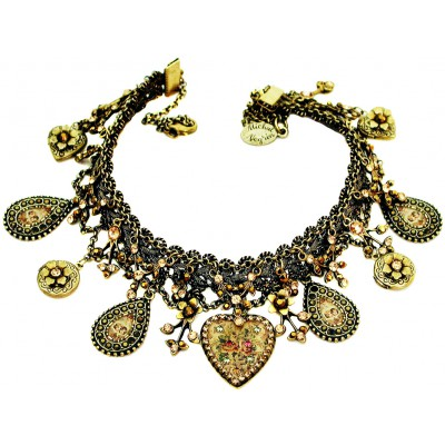 Michal Negrin Gold Bronze Hearts Lockets Necklace