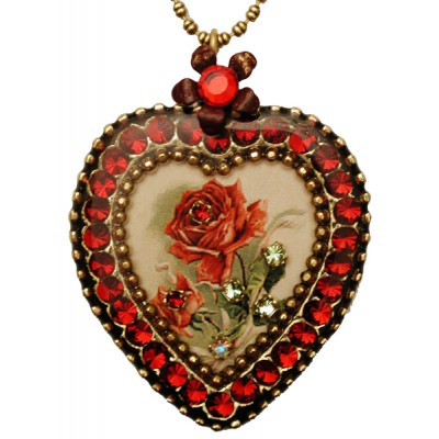 Michal Negrin Red Rose Crystal Heart Necklace