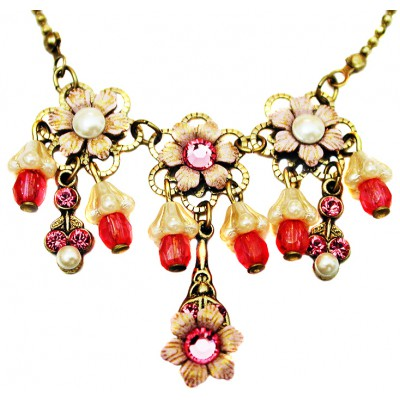 Michal Negrin Pink Pearl Lily Bells Necklace