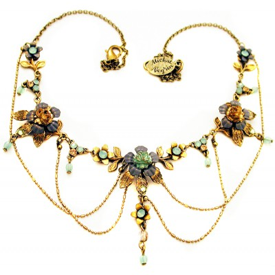 Michal Negrin Antique Roses Chain Necklace