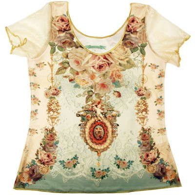 Michal Negrin Baroque Roses Lace T Shirt