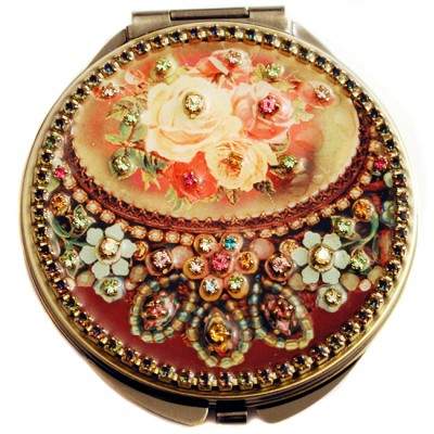 Michal Negrin Antique Roses Compact Mirror