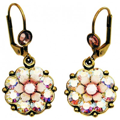 Michal Negrin Aurora Borealis Lilac Crystals Flower Earrings