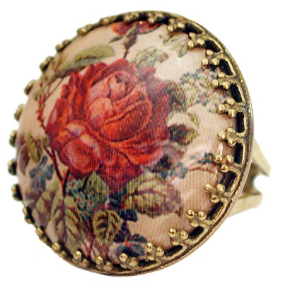 Michal Negrin Red Rose Round Cameo Ring