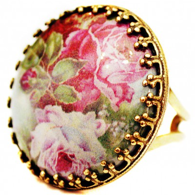 Michal Negrin Pink Roses Round Cameo Ring