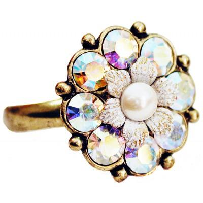 Michal Negrin Aurora Borealis White Crystals Flower Ring