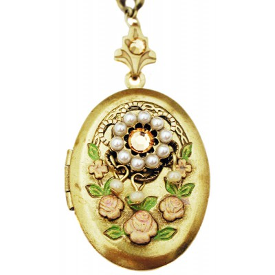 Michal Negrin Pearl Peach Crystals Oval Locket Necklace