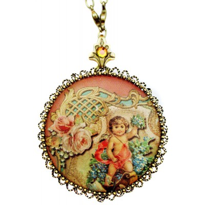 Michal Negrin Antique Cherub Round Locket Necklace