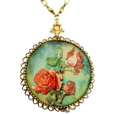 Michal Negrin Antique Roses Round Locket Necklace