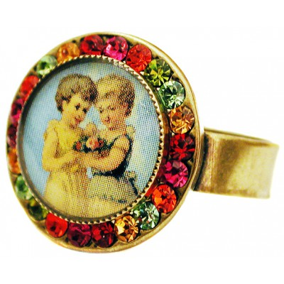 Michal Negrin Multicolor Round Cameo Crystal Ring