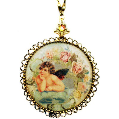 Michal Negrin Musing Cherub Cameo Locket Necklace