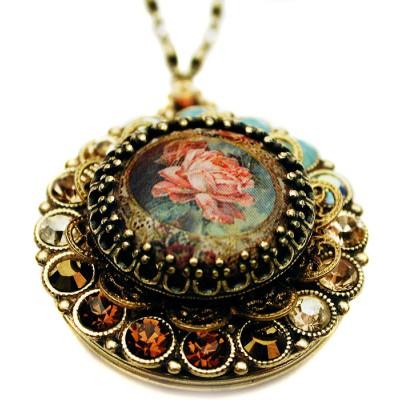 Michal Negrin Antique Rose Locket Necklace
