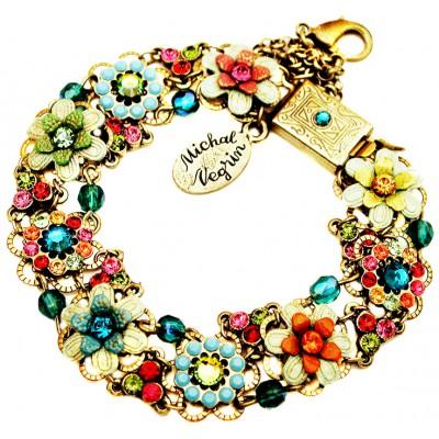 Michal Negrin Multicolor Crystals Flowers Bracelet