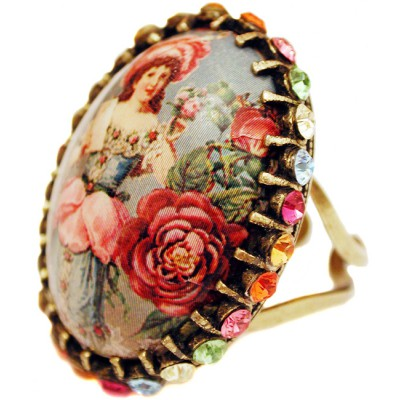 Michal Negrin Baroque Girl Crystal Cabochon Cameo Ring