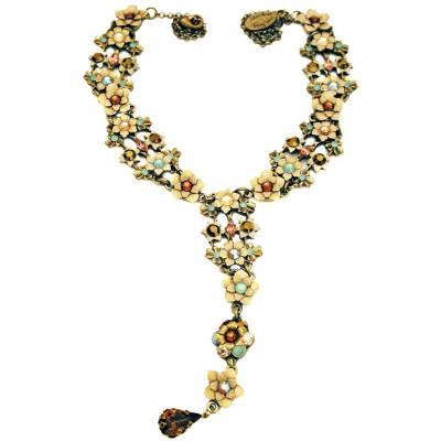 Michal Negrin Green Bronze Drop Tie Necklace