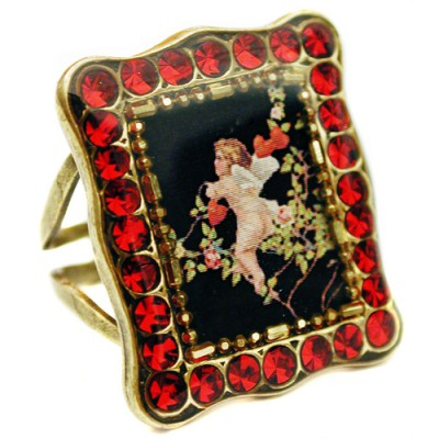 Michal Negrin Red Cupid Rectangle Ring
